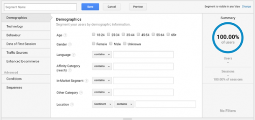 Google Analytics Segment Builder