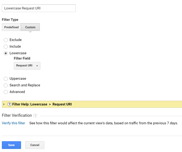 Google Analytics lowercase URI filter set up